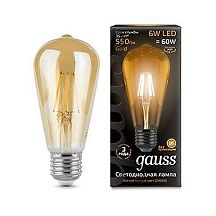 Лампа Gauss LED Filament ST64 E27 6W 2400К 102802006