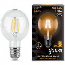 Лампа Gauss LED Шар Filament G95 E27 6W 2700K 105802106